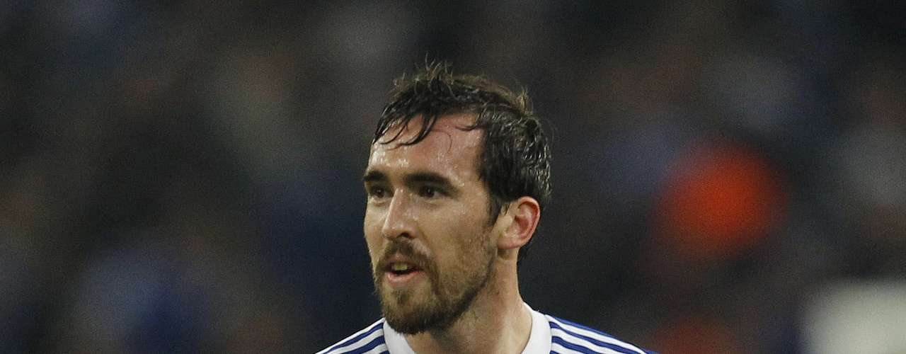 Schalke 04's Christian Fuchs celebrates a goal against Olympiakos Piraeus during their Champions League Group B soccer match in Gelsenkirchen November 21, 2012. REUTERS/Ina Fassbender (GERMANY - Tags: SPORT SOCCER)