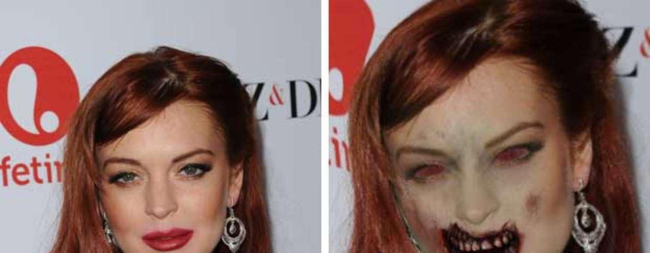A Lindsay Lohan ya la hemos visto en las peores situaciones y cuando está bajo los influjos del alcohol es irreconocible. Pero convertida en zombi sería realmente atemorizante.