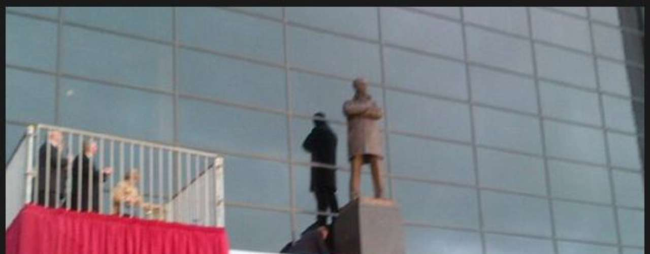 Rio Ferdinand salutes his skipper Sir Alex Ferguson after Fergie has a statue dedicated in front of Old Trafford.