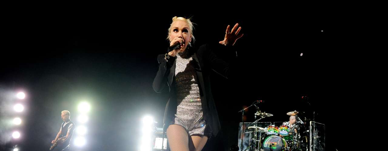 No Doubt display their high energy stage show at Universal City, California's Gibson Amphitheater last night. Singer Gwen Stefani ran around the stage, singing her heart out in Dr. Martens showing off her great legs.