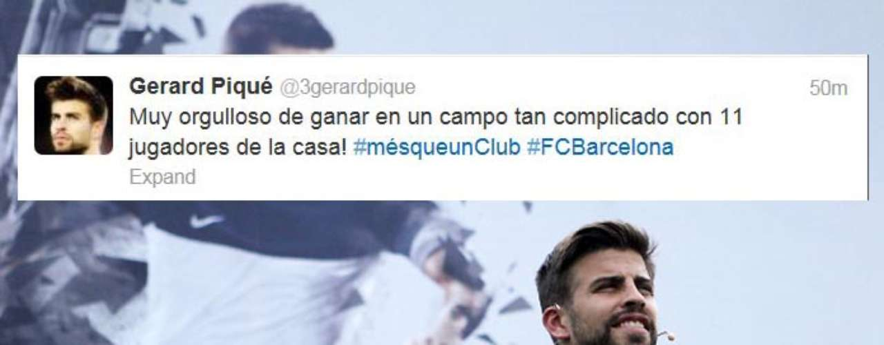 Gerard Pique was appreciative in this tweet after Barcelona won 4-0 to remain in first place in La Liga.