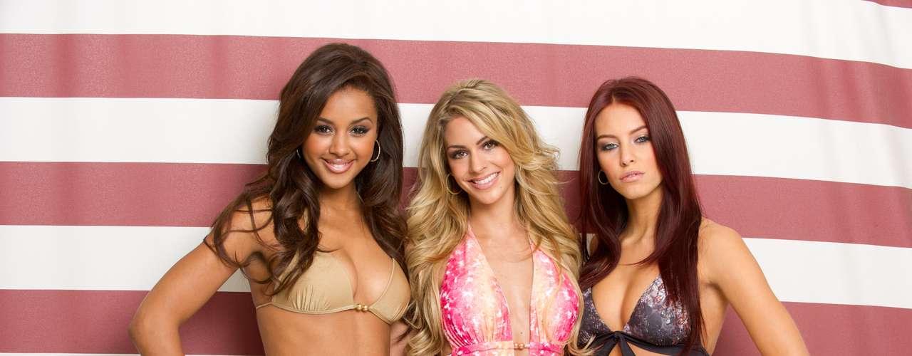 Estas tres sensuales europeas: Miss Bélgica Laura Beyne, Miss Holanda Nathalie den Dekker y Miss Alemania Alicia Endemann, posan con toda sensualidad durante la sesión de fotos en traje de baño.