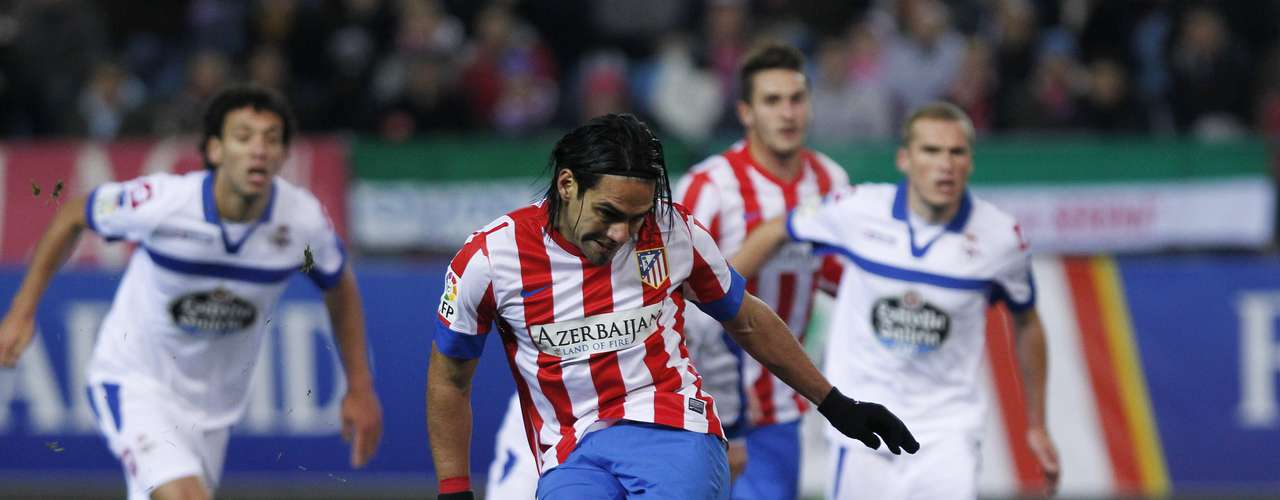 Falcao scores from the penalty spot his third goal of the game