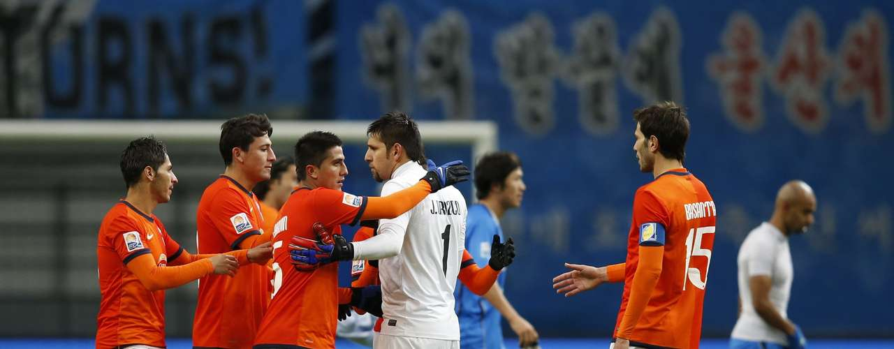 Players of Mexico's Monterrey celebrate after defeating South Korea's Ulsan Hyundai.