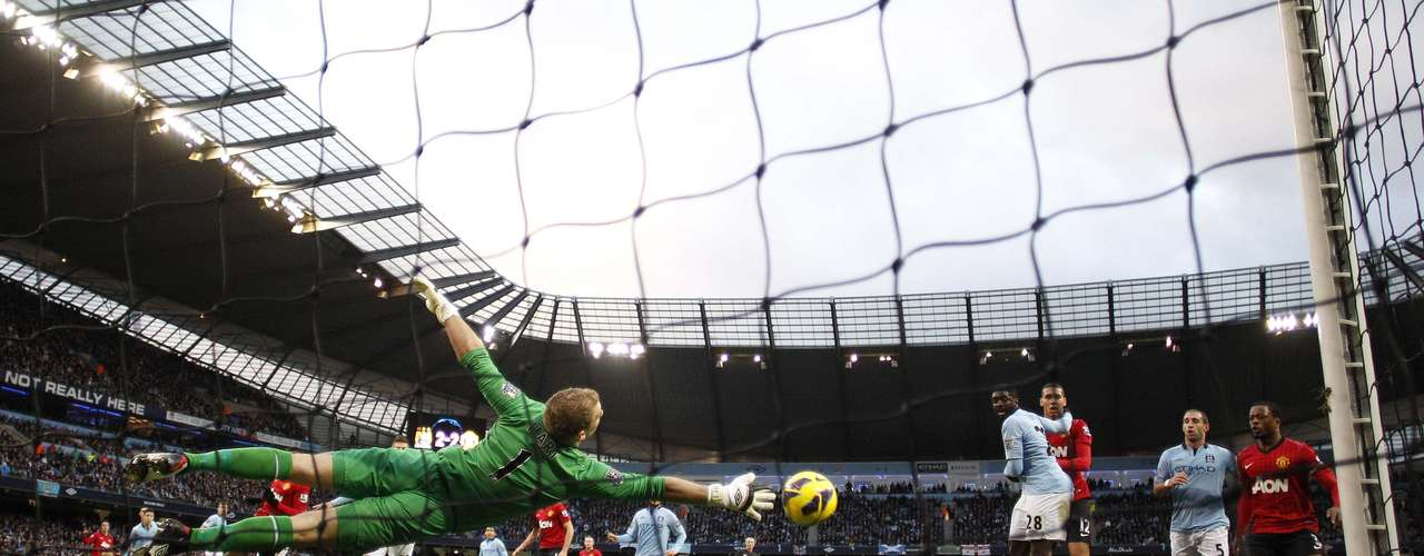 Manchester City's Joe Hart couldn't stop the free kick.