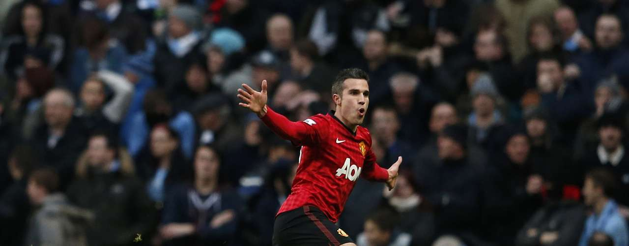 Manchester United's Robin Van Persie celebrates his goal against Manchester City.