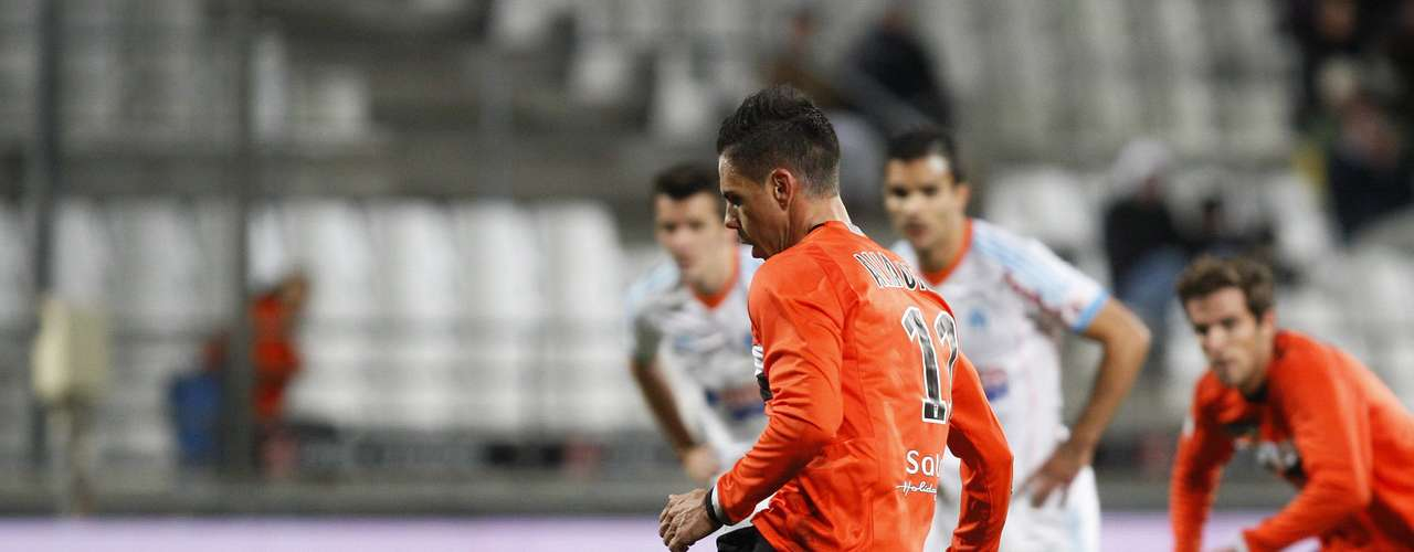 FC Lorient's Jeremie Aliadiere scores a penalty against Olympique Marseille during their French Ligue 1 soccer match at the Velodrome Stadium in Marseille, December 9, 2012.