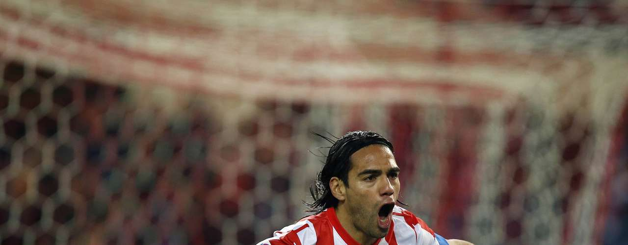 Falcao celebrates and makes history becoming the second Atletico player to score 5 goals in a game after Vavá who did it in 1958.