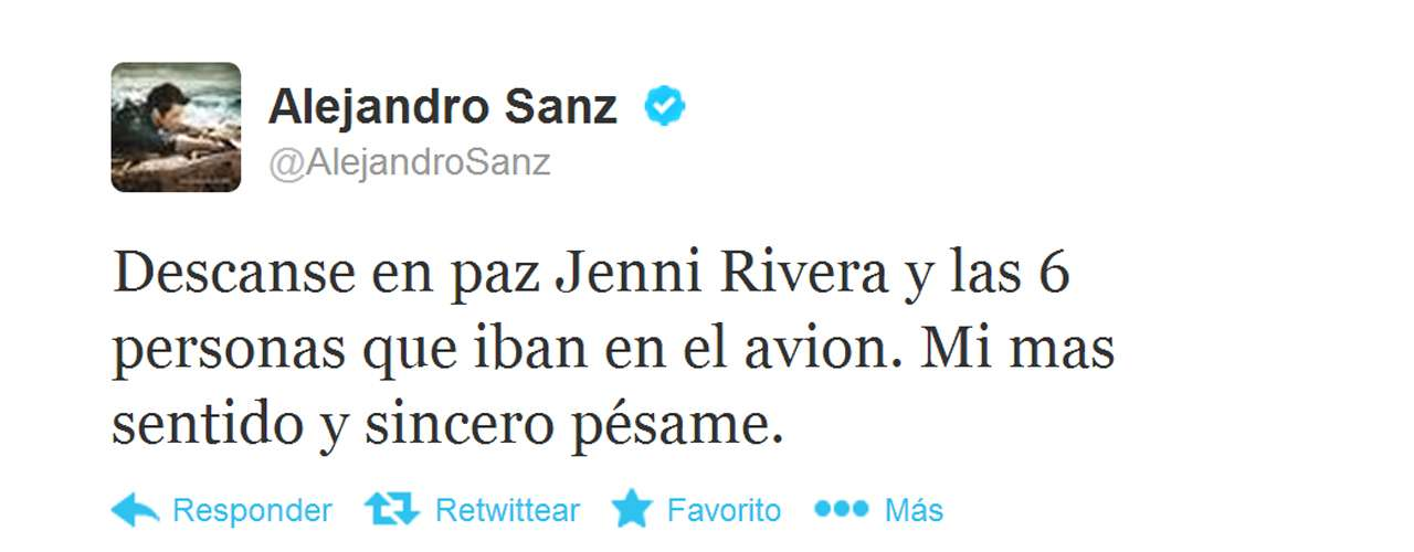 Alejandro Sanz expressed his condolences for Jenni and the other people on board the plane.