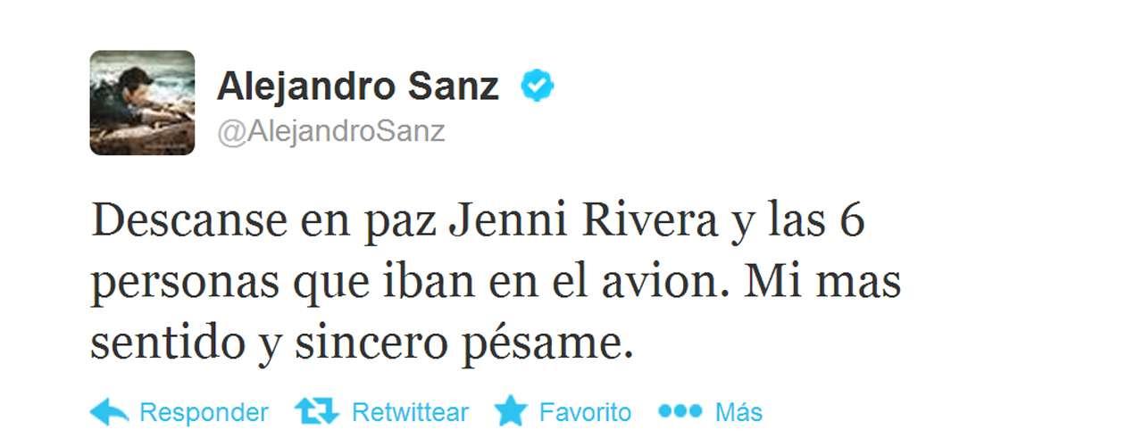 Alejandro Sanz también compartió momentos profesionales con Jenni Rivera y pasó en Twitter para dejar un mensaje de aliento.