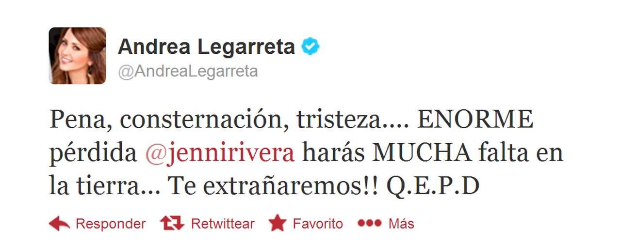 Andrea Legarreta took to Twitter to share her condolences.