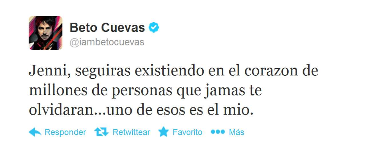 Jenni's fellow coach on 'La Voz... México 2', Beto Cuevas, also opened up online.