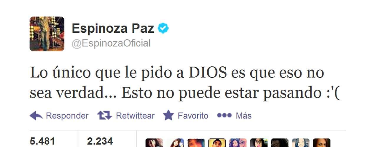 Espinoza Paz escribió en Twitter que no podía creer que Jenni Rivera hubiera muerto.