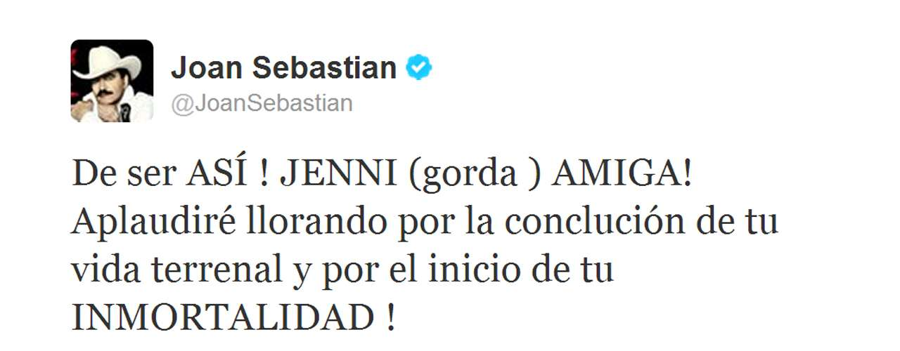 Instead of mourning Jenni's death, Joan Sebastian seemed to celebrate her life and immortality.