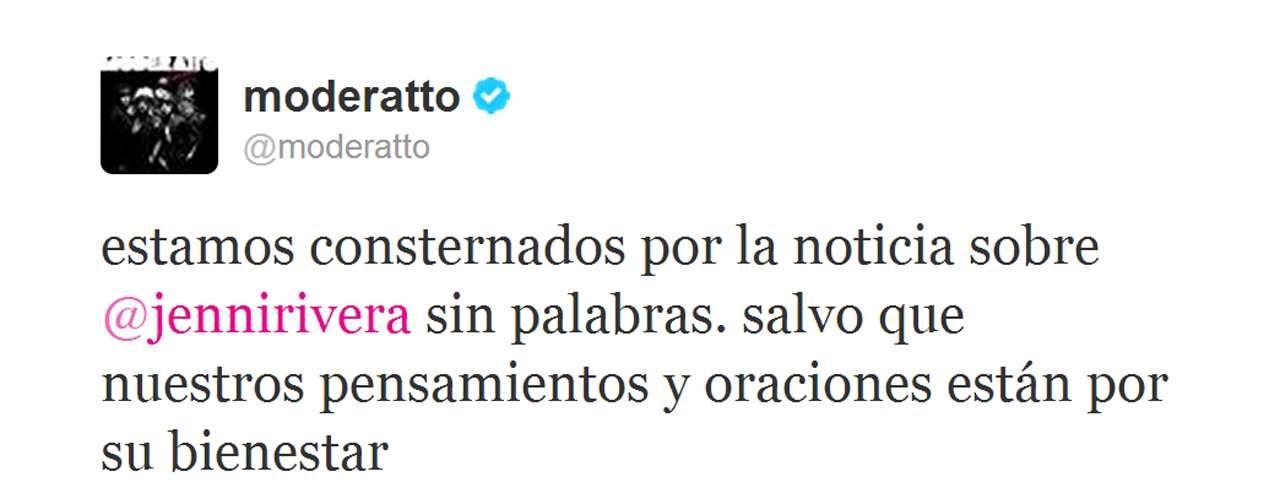 Moderatto compartió el escenario con Jenni Rivera en los días previos a su muerte y se solidarizaron con los fans.