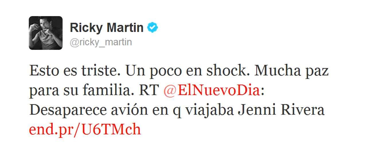 Ricky Martin envió un mensaje de aliento para la familia de Jenni Rivera ante el trago amargo.