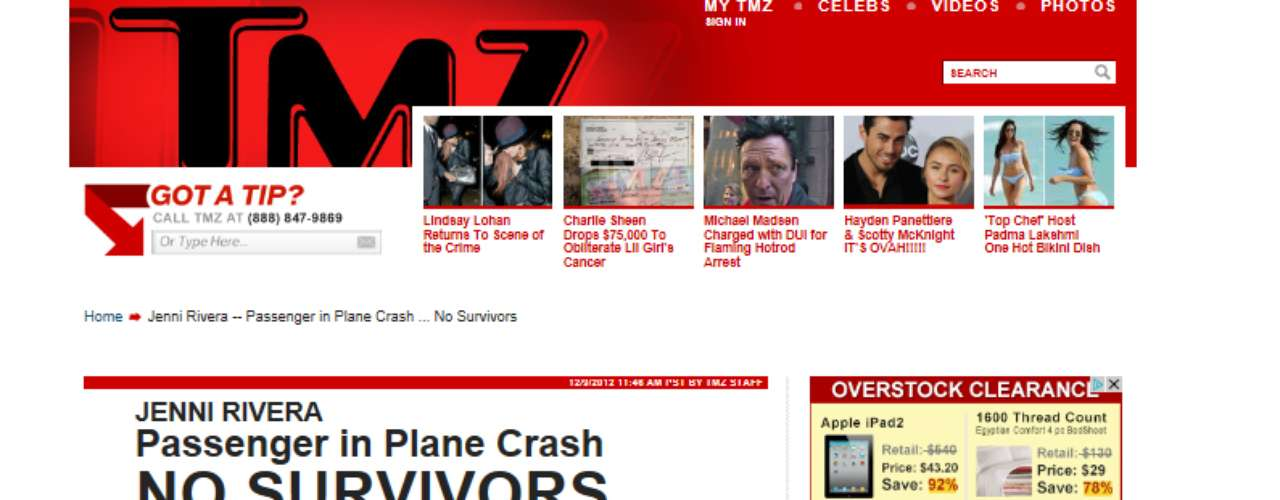 In the United States, TMZ.com was the first English-language outlet-in addition to Terra.com-to cover the news about Jenni's death.