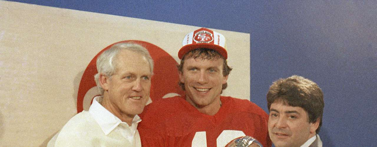 Joe Montana (San Francisco 49ers QB): Montana ganó su segundo premio MVP tres años después, cuando superó al MVP de la Liga Dan Marino en la victoria de los 49ers 38-16 sobre Miami. Montana completó 24-25 pases para 331 yardas y tres touchdowns en el triunfo de San Francisco.