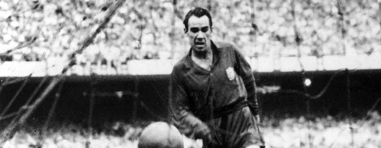 The record holder is Athletic Bilbao's greatest player Telmo Zarra who scored 251 goals in 15 seasons in La Liga. Currently playing his 9th season, Messi is in 9th place of the all time list with 192 goals.