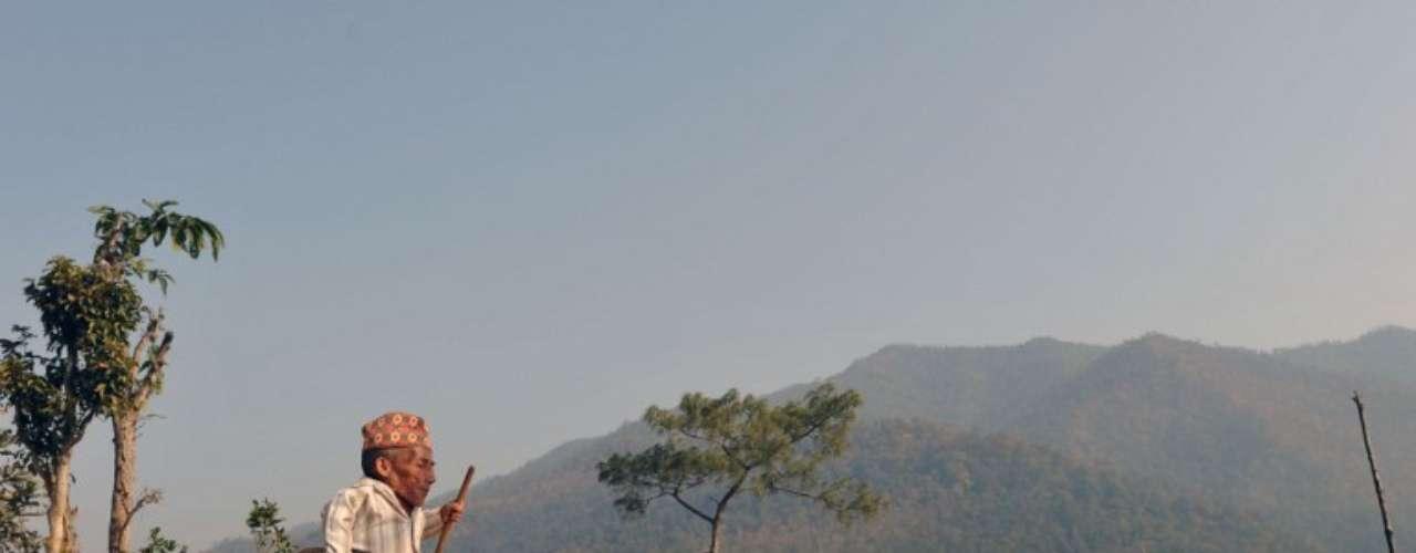 El nepalés Chandra Bahadur Dangi, de 72 años, quien dice ser el hombre más pequeño del mundo, camina cerca de su casa en Reemkholi.