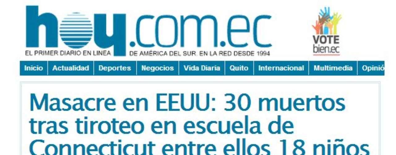 Portada del Diario Hoy de Ecuador.