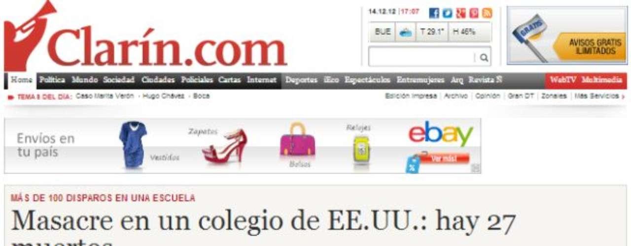 Portada del Diario El Clarín de Argentina.