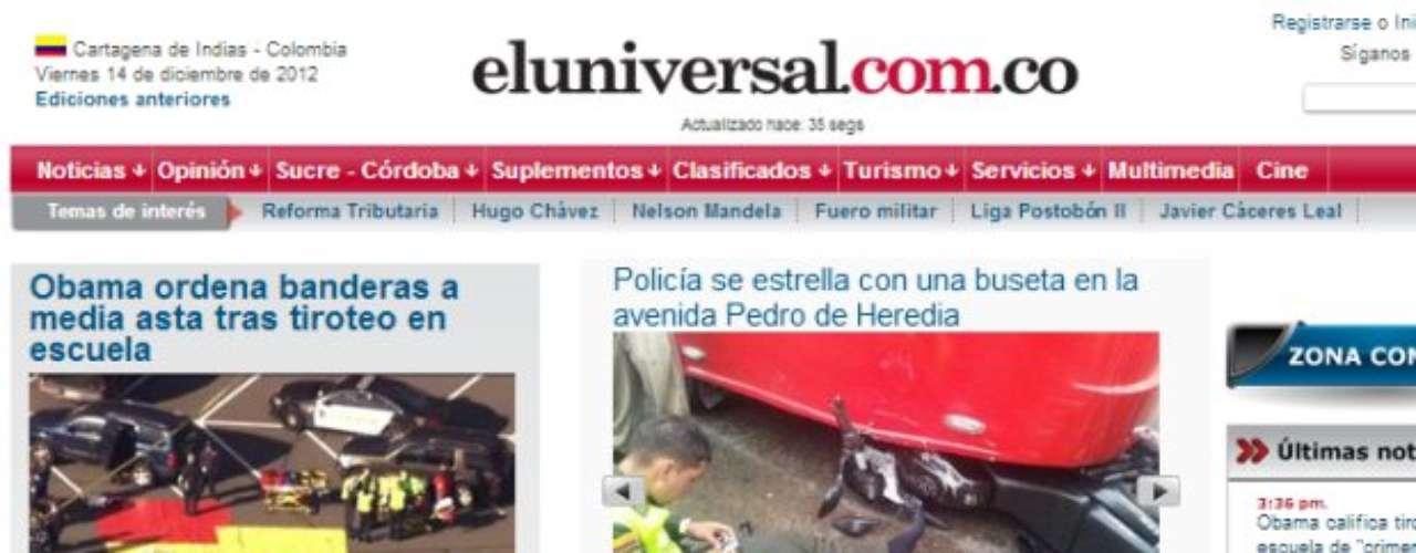 Portada del Diario El Universal de Colombia.
