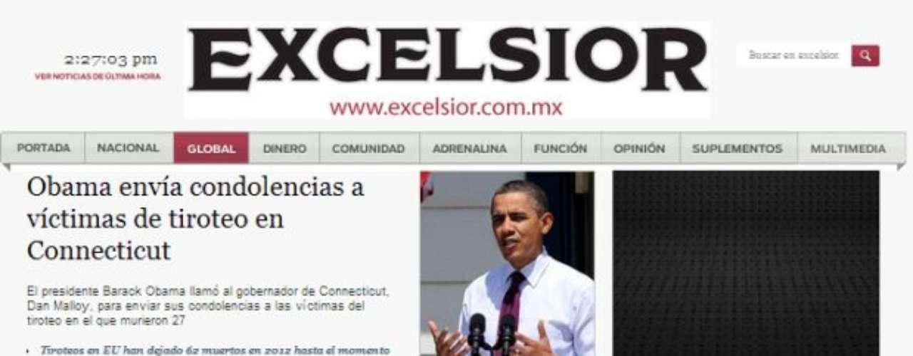 Portada del Diario Excelsior de México.