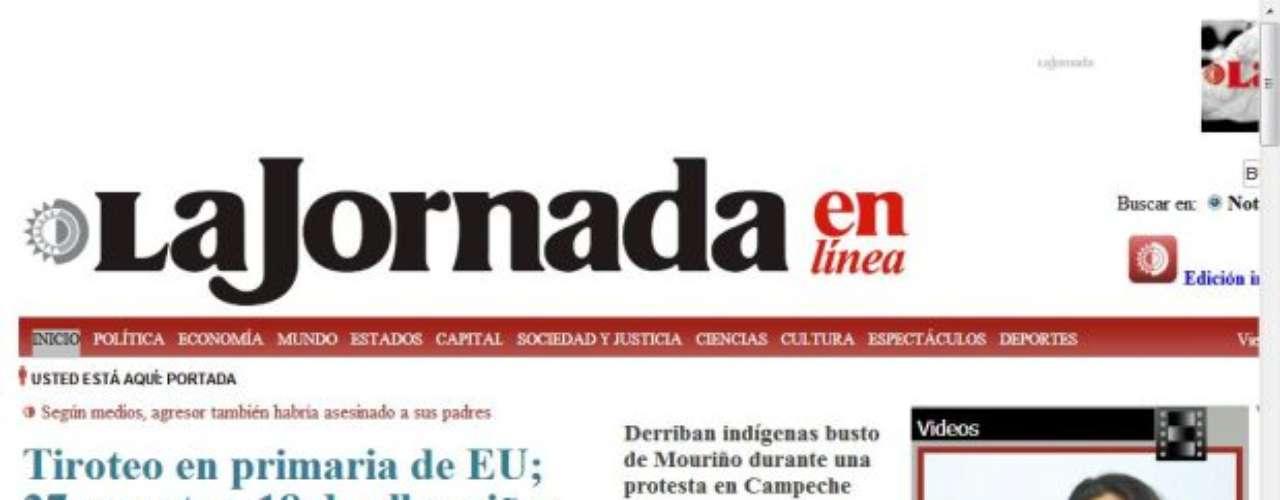Portada del Diario La Jornada de México.