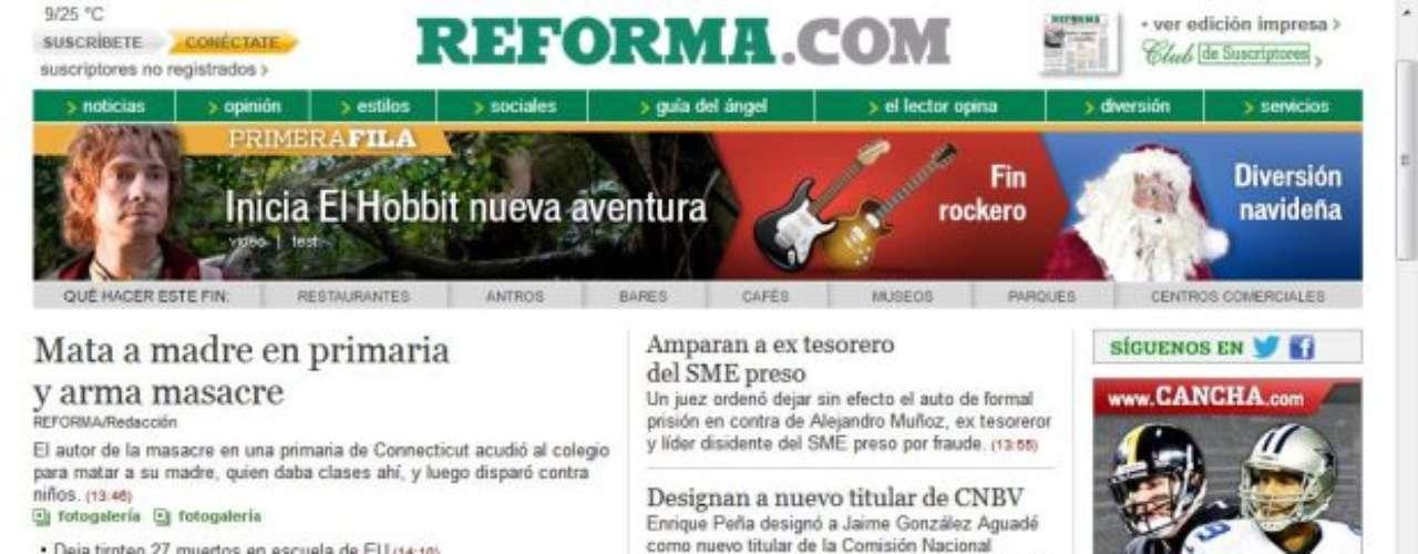 Portada del Diario Reforma de México.