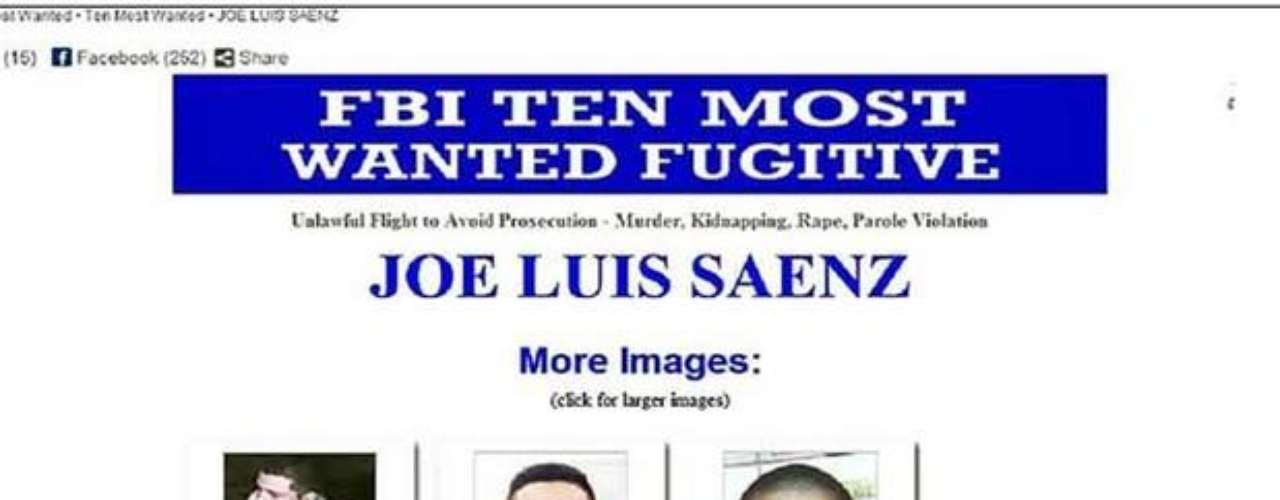 23 de noviembre del 2012.- Agentes de la Policía Federal detuvieron en Guadalajara, Jalisco, a Joe Luis Sáenz, uno de los 10 delincuentes más buscados por el Buró Federal de Investigaciones (FBI, por sus siglas en inglés). Sáenz, por quien se ofrecían 100 mil dólares de recompensa, está acusado de homicidio, violación, secuestro, robo de vehículos, posesión de drogas, vandalismo y violación de libertad condicional.