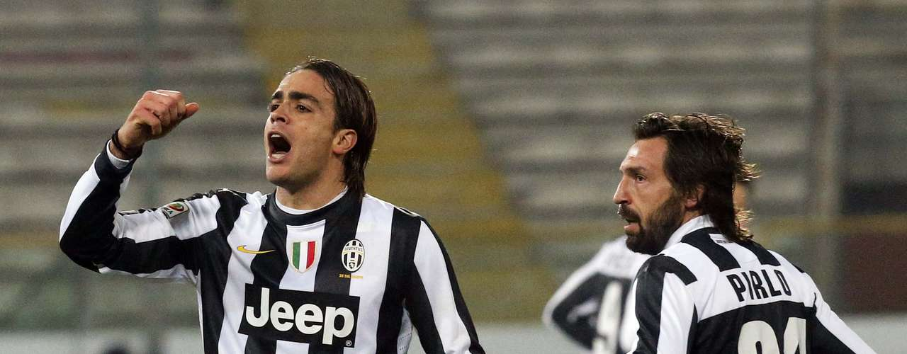 Juventus' Alessandro Matri (L) celebrates next to team mate Andrea Pirlo.