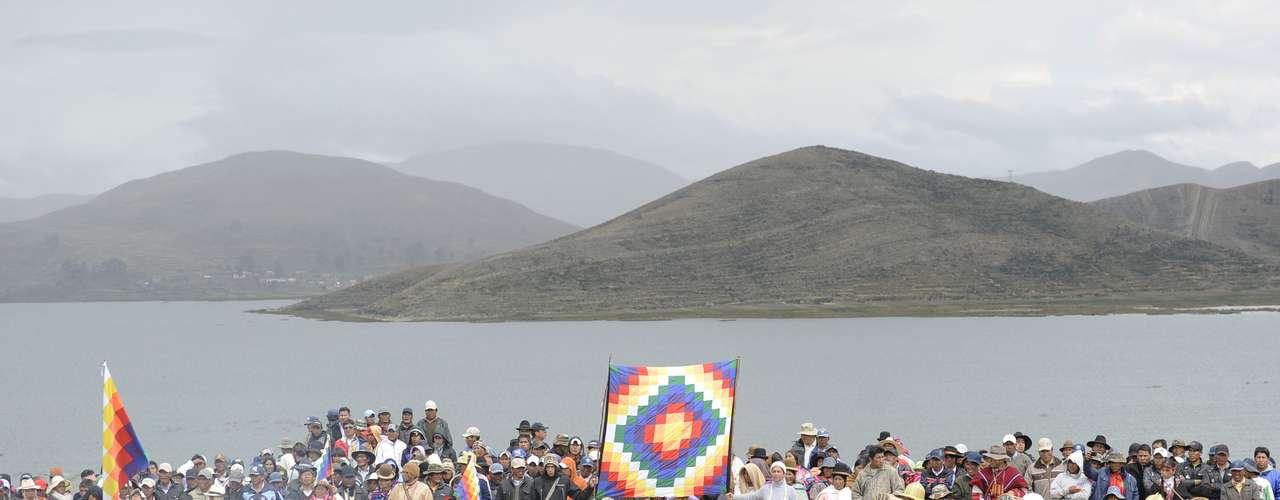 Morales hizo una ofrenda a la Madre Tierra (Pachamama) como parte de los actos centrales y pronunciará un discurso.