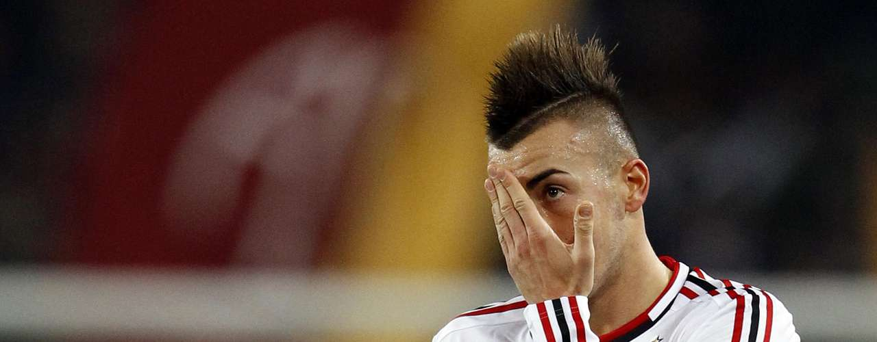 AC Milan's Stephan El Shaarawy reacts after losing their Italian Serie A soccer match against AS Roma.