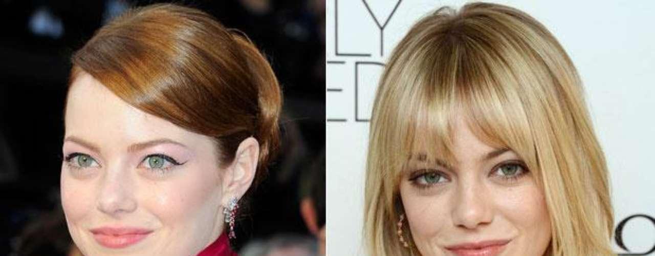 Emma Stone: la actriz dejó de lado sus cabellos con mechas claras para pasar al tono más rubio.