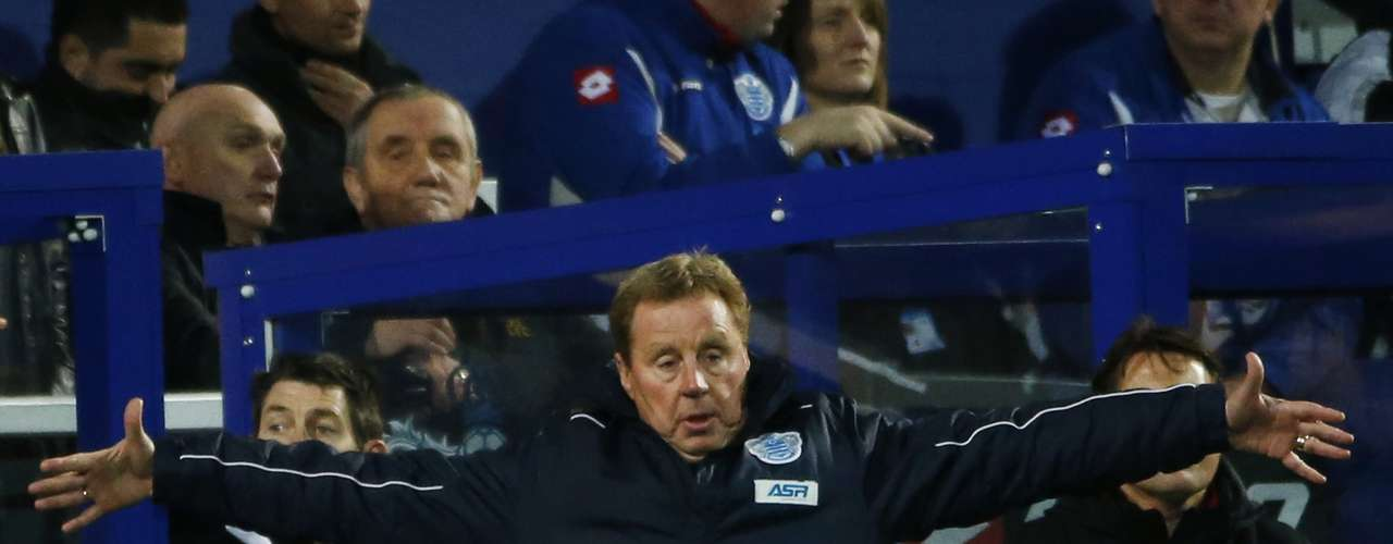 Queens Park Rangers manager Harry Redknapp reacts with disdain. REUTERS/Eddie KeoghCLUB/LEAGUE/PLAYER PUBLICATIONS