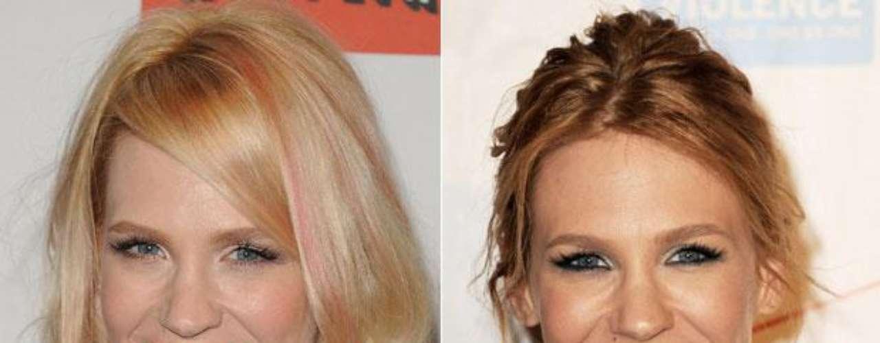 January Jones: Su cabello no parece el mismo. Cambió de las mechas color rosa a un tono castaño.