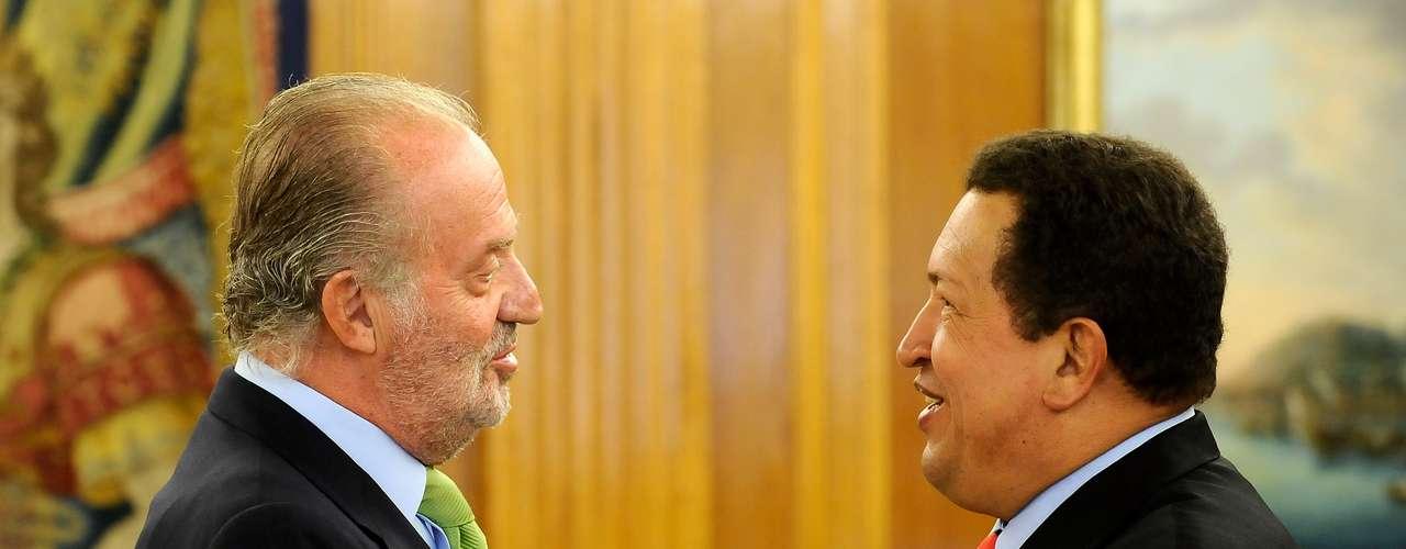 Encuentro entre el presidente venezolano y el rey don Juan Carlos en el Palacio de la Zarzuela de Madrid en septiembre de 2011