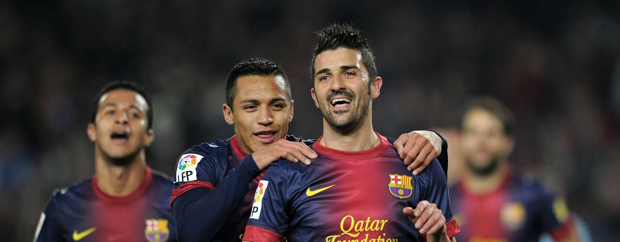 David Villa celebrates his second goal.