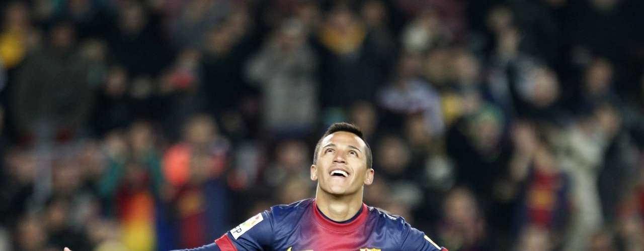 Alexis celebrates his second goal against Cordoba.