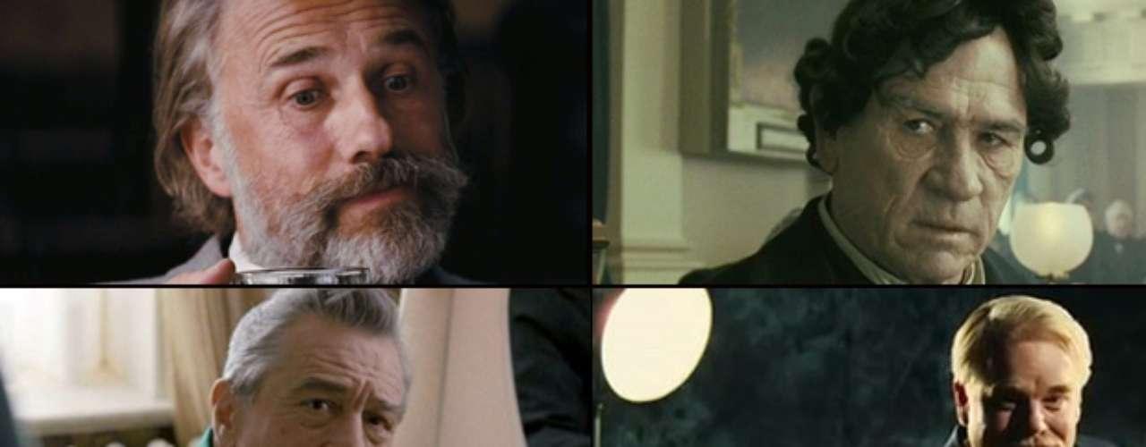 MEJOR ACTOR DE REPARTO  (Izq. a der., arriba a abajo) Christoph Waltz (Django Unchained), Tommy Lee Jones (Lincoln), Robert DeNiro (Silver Linings Playbook), Philip Seymour Hoffman (The Master), Alan Arkin (Argo).   PREDICCIÓN CARLOS MACÍAS: TOMMY LEE JONES PREDICCIÓN ERNESTO SÁNCHEZ: ALAN ARKIN  DEBERÍA GANAR: CHRISTOPH WALTZ, en él Quentin Tarantino ha encontrado a su alter ego. Es el Mastroiani de Fellini, el DeNiro de Scorsese, y es igual de talentoso pero incluso más carismático.