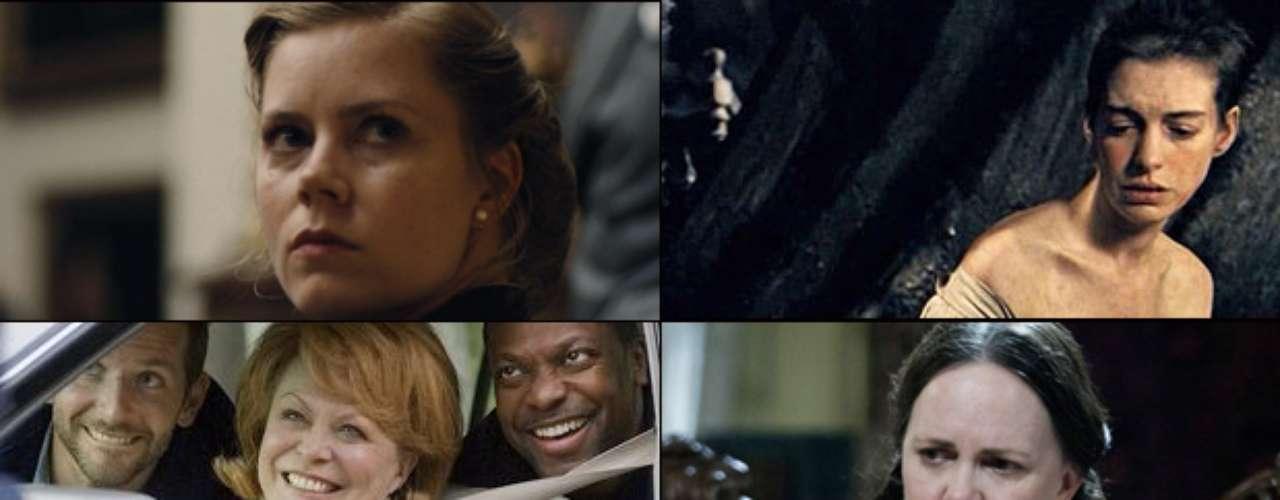 MEJOR ACTRIZ DE REPARTO  (Izq. a der., arriba a abajo) Amy Adams (The Master), Anne Hathaway (Les Misérables), Jacki Weaver (Silver Linings Playbook), Sally Field (Lincoln), Helen Hunt (The Sessions)   PREDICCIÓN CARLOS MACÍAS: ANNE HATHAWAY PREDICCIÓN ERNESTO SÁNCHEZ: ANNE HATHAWAY  DEBERÍA GANAR: AMY ADAMS, con un solo gesto, una mirada o una inflexión de voz, la actriz logra provocar terror y odio con el personaje más controversial de The Master de Paul Thomas Anderson. Lo peor del caso, existen miles como ella.