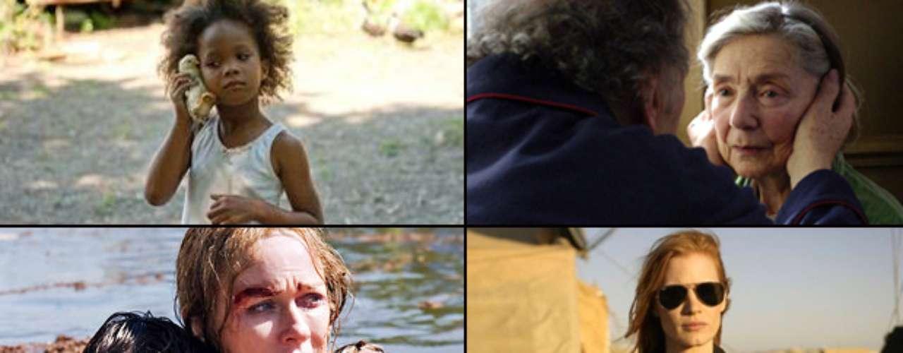 MEJOR ACTRIZ PROTAGÓNICA  (Izq. a der., arriba a abajo) Quvenzhané Wallis (Beasts Of The Southern Wild), Emmanuel Riva (Amour), Naomi Watts (The Impossible), Jessica Chastain (Zero Dark Thirty), Jennifer Lawrence (Silver Linings Playbook)  PREDICCIÓN CARLOS MACÍAS: JESSICA CHASTAIN PREDICCIÓN ERNESTO SÁNCHEZ: JESSICA CHASTAIN  DEBERÍA GANAR: NAOMI WATTS, su interpretación es sutil, sin exageración, y logra transmitir todo tipo de angustia, desde la desesperación hasta la desolación. Su mejor trabajo desde Mulholland Dr.