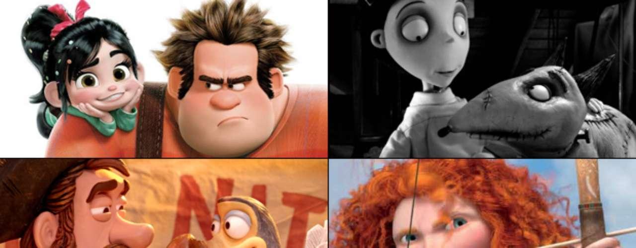 MEJOR PELÍCULA ANIMADA  (Izq. a der., arriba a abajo) Wreck It Ralph, Frankenweenie, The Pirates! Band Of Misfits, Brave, ParaNorman   PREDICCIÓN CARLOS MACÍAS: FRANKENWEENIE PREDICCIÓN ERNESTO SÁNCHEZ: BRAVE  DEBERÍA GANAR: PIRATES! BAND OF MISFITS, la menospreciada película tiene el mismo humor, carisma, y está hecho con el mismo cariño y corazón que el equipo que nos había traído Chicken Run y Wallace & Gromit. Es maravillosa, de verdad.