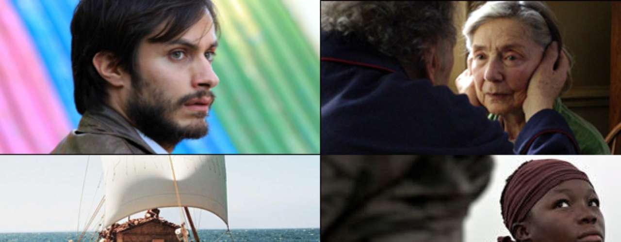 MEJOR PELÍCULA EXTRANJERA  (Izq. a der., arriba a abajo) No (Chile), Amour (Austria), Kon-Tiki (Noruega), War Witch (Canadá), A Royal Affair (Dinamarca).   PREDICCIÓN CARLOS MACÍAS: AMOUR PREDICCIÓN ERNESTO SÁNCHEZ: AMOUR  DEBERÍA GANAR: AMOUR, la ganadora de la Palma de Oro en Cannes es como una especie de El Hijo de la Novia, pero claro, bajo la visión dramática de Michael Haneke, y la película es simplemente irresistible.