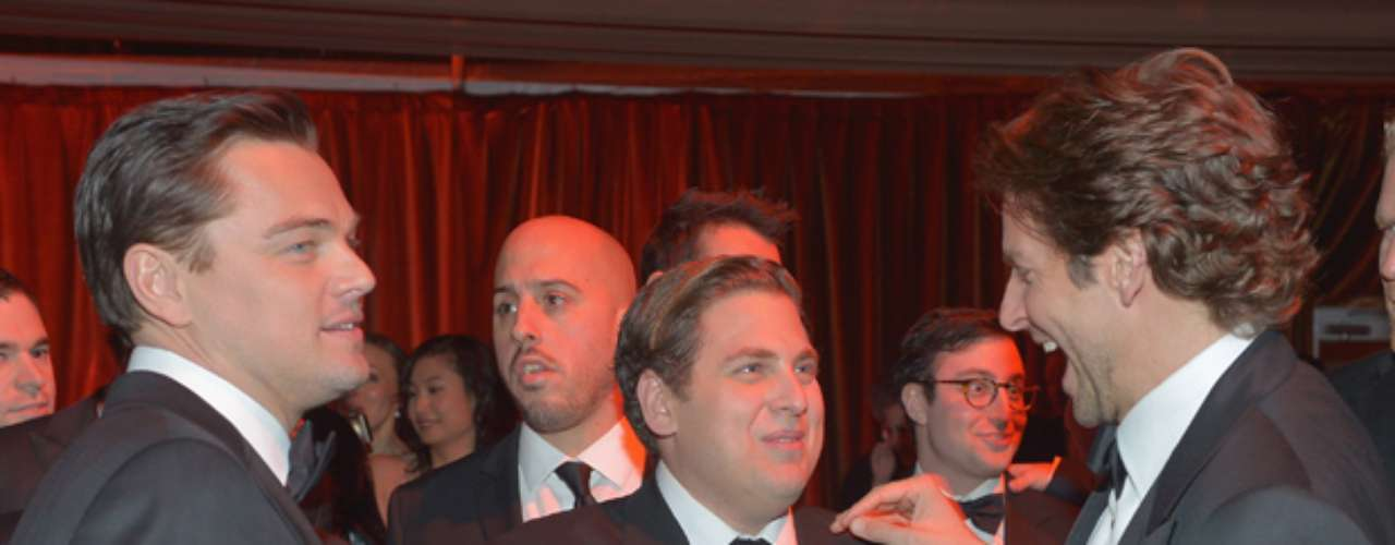 Trio of trouble?  Cameras captured Leonardo DiCaprio, Jonah Hill and Bradley Cooper having a ball at the party.  (Terra USA/Dennis Pastorizo)