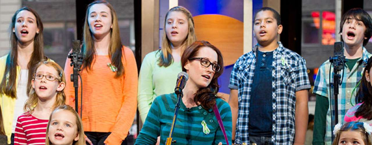 The children, most of which attend Sandy Hook Elementary, joined six adults under the direction of Ingrid Michaelson on ABC's \