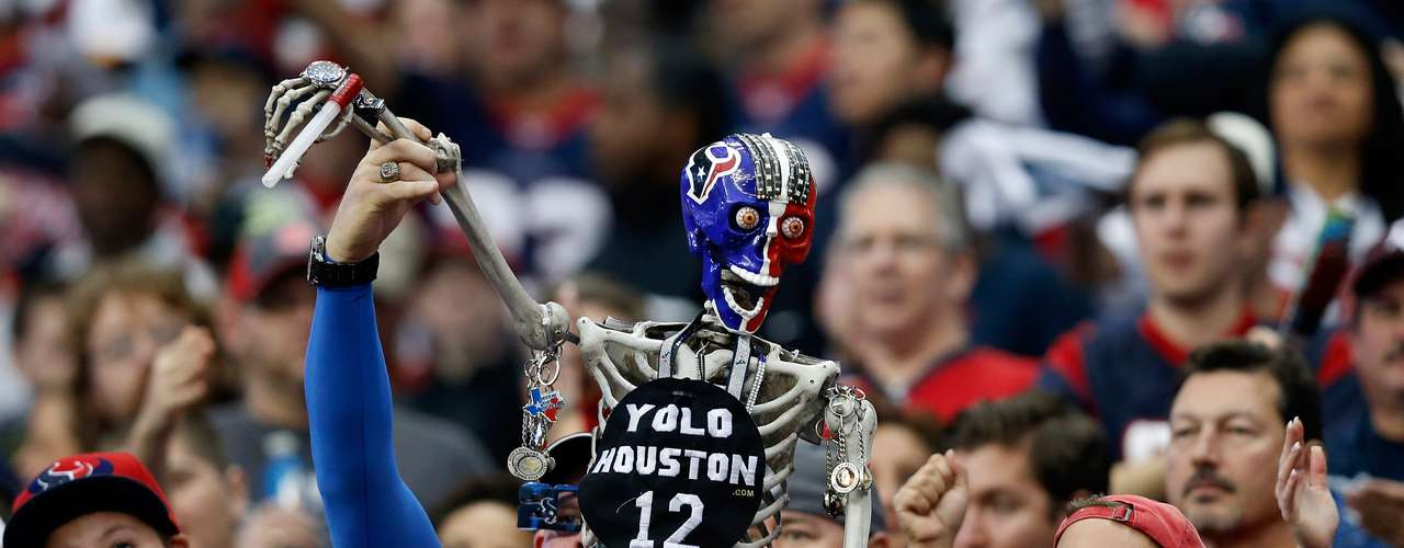 A Houston Texans fan brings an skeleton to support jis team against the Cincinnati Bengals duing the AFC wild card game at Reliant Stadium.