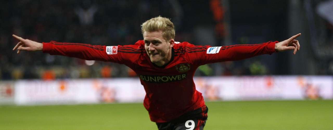 Bayer Leverkusen's Andre Schuerrle celebrates a goal against Eintracht Frankfurt. REUTERS/Ina Fassbender