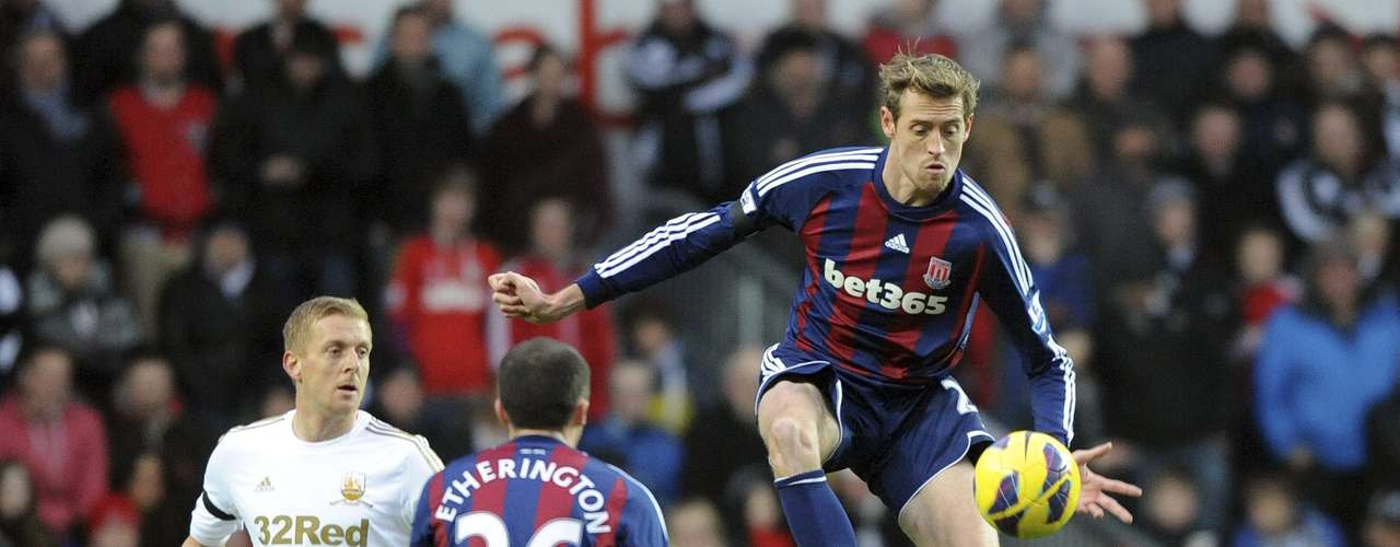 Stoke City's Peter Crouch (R) controls the ball during their English Premier League soccer match against Swansea City.